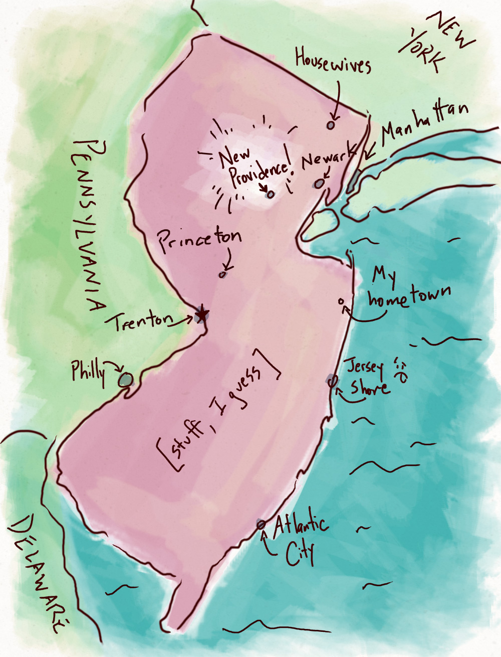 Map of NJ. Note where I live, and where my hometown is ...