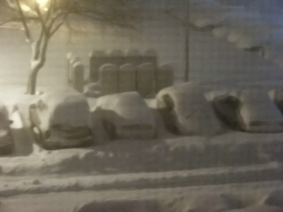 Those are mailboxes, behind the cars (which are underneath a snowdrift)