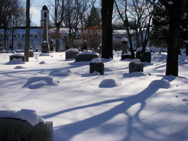 Snow in a cemetery