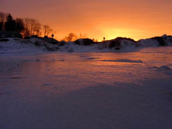 Sunrise over icy snow!
