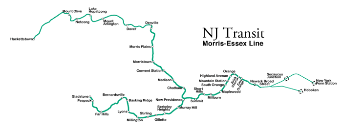NJ Transit, Morris-Essex Line + Gladstone Branch. See the Hoboken/New York split on the right? And can you find New Providence?