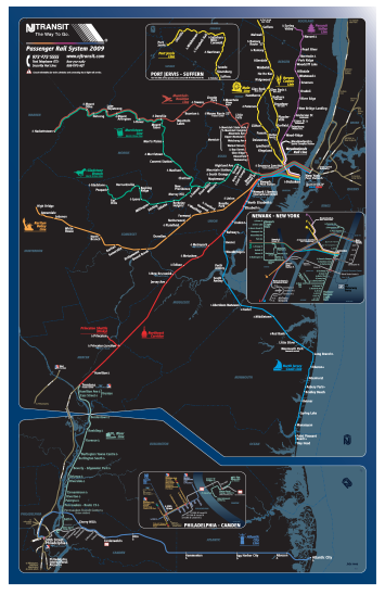 NJ Transit Rail System Map, as of 2009