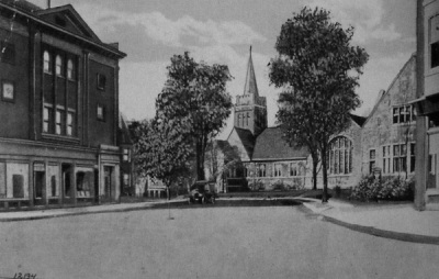 Summit Methodist, as seen from downtown Summit, c. 1910?