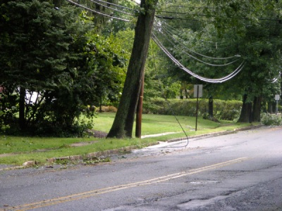 Power line down on Springfield Avenue near Maple Street, New Providence