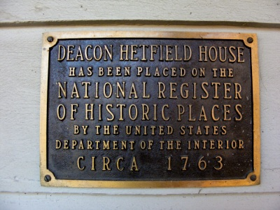 Deacon Hetfield House has been placed on the National Register of Historic Places by the United States Department of the Interior, circa 1763