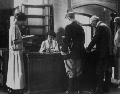 Morristown library checkout, circa 1915