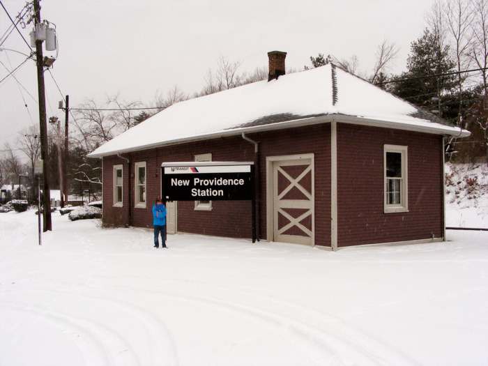 New Providence station (and a kid) in the snow