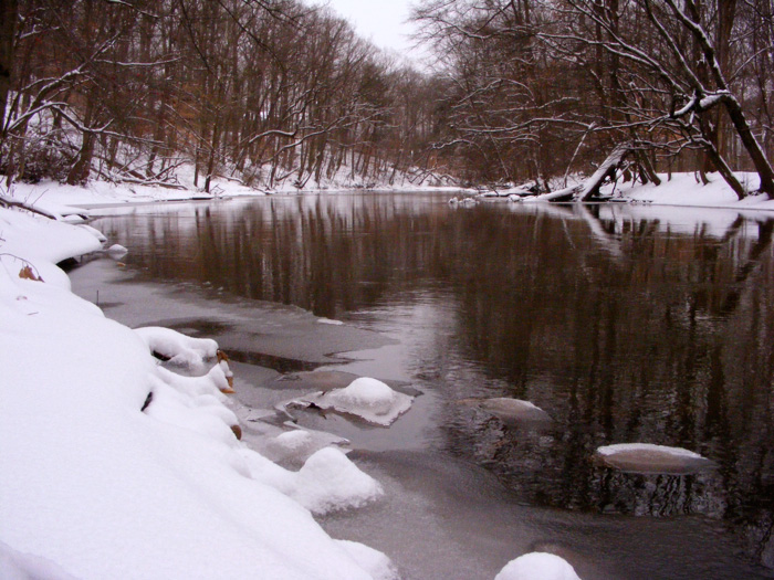 NJ's Passaic River in snow. Y'know,  once upon a time, I used to have funny alt tags.