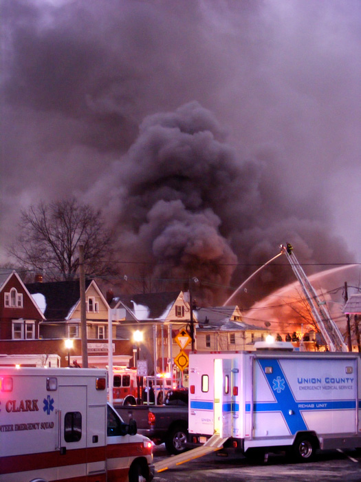 Six-alarm fire in Westfield, NJ