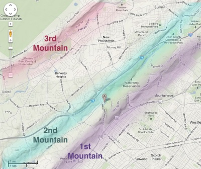 Map of the Watchung Mountains (3rd - 2nd - 1st), for context