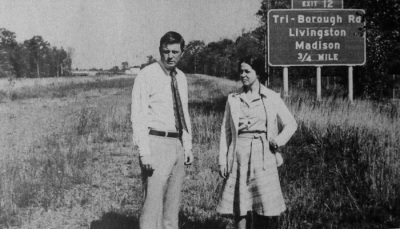 A couple standing on what would eventually become Route 24; c.1970?