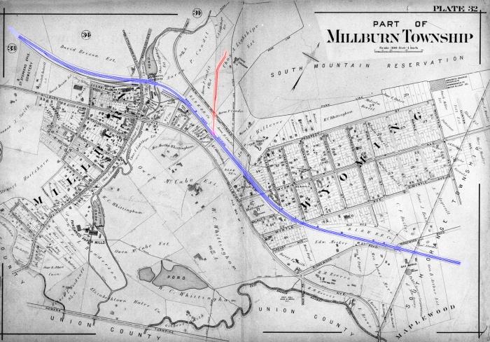 Millburn railroad spur, 1906