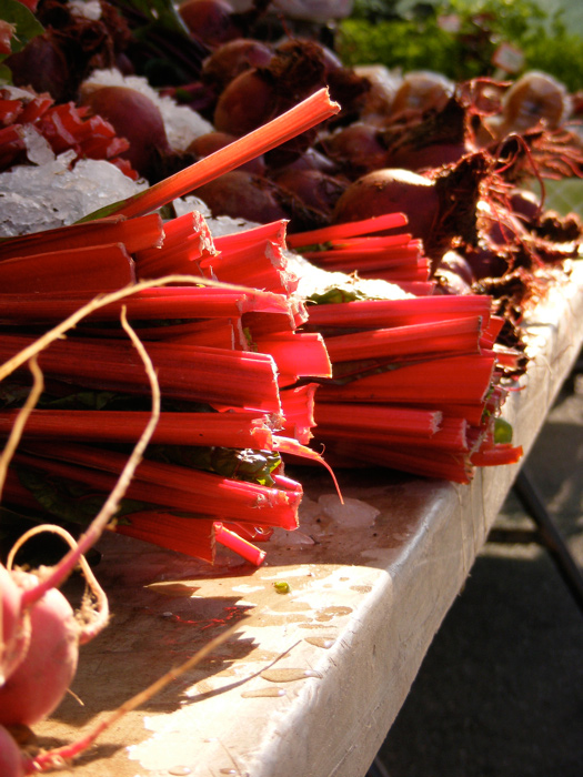 Swiss chard! I mean, I'm pretty sure it's chard, not rhubarb.
