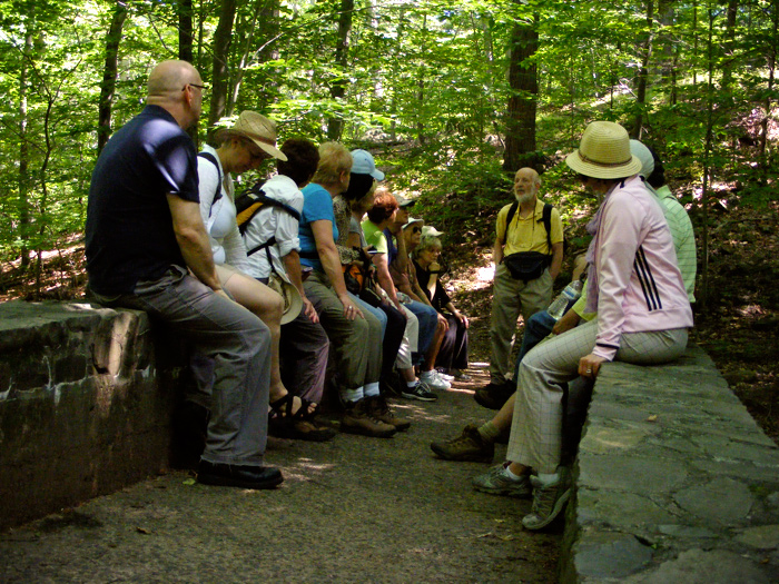 South Mountain Conservancy historical hike, pausing on a bridge