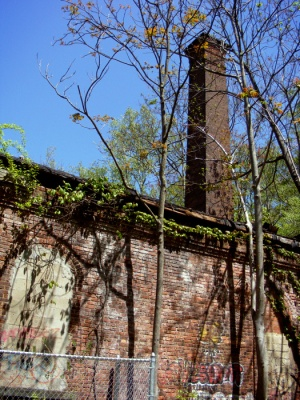 Campbell's Pond pumping station in the South Mountain Reservation, identifiable by its big old smokestack.