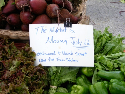 The market is moving July 22! Beechwood and Bank Street, near the train station