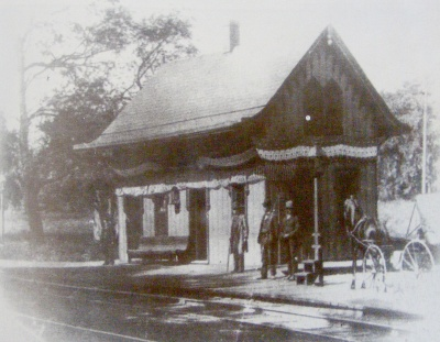 Original Morristown station, c.1840, at Maple and DeHart Streets, a few blocks southwest of the current location. From Williams 1996, 101.