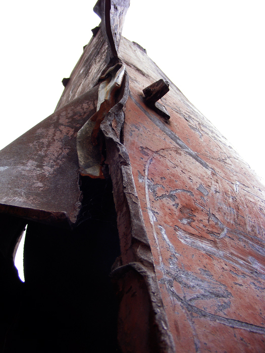 Warped steel girder from the World Trade Center-- part of the September 11 Memorial at Echo Lake Park in Mountainside/Springfield