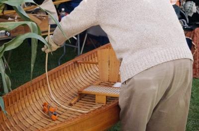 Bending a canoe rib!