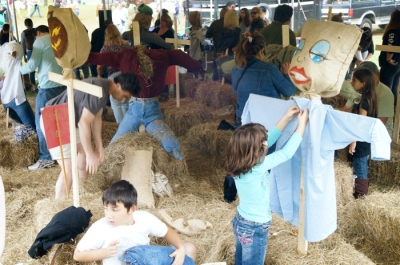 Building scarecrows!