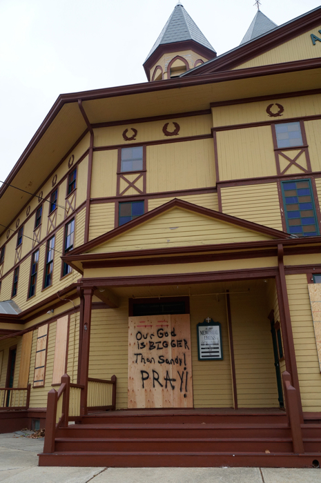 "Ocean Grove Auditorium, NJ, 10-28-12: ""Our God is BIGGER than Sandy! PRAY!"""
