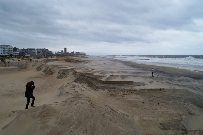 Mound of sand at Ocean Grove (presumably for beach protection), looking north