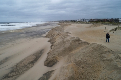 Ocean Grove, Hurricane Sandy beach wall preparations, looking south
