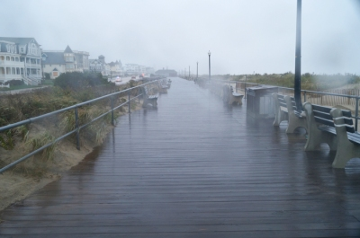 Ocean Grove boardwalk (near Bradley Beach), before (in tropical storm conditions)