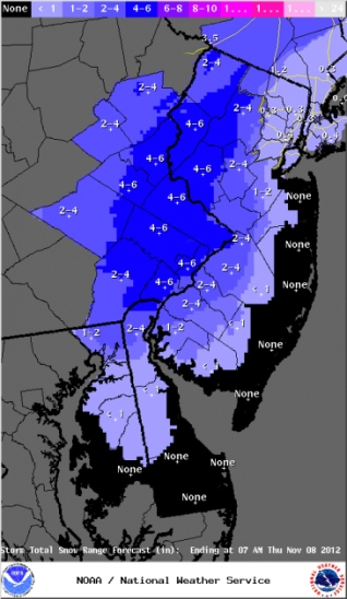 National Weather Service snow totals prediction, around 9AM EST