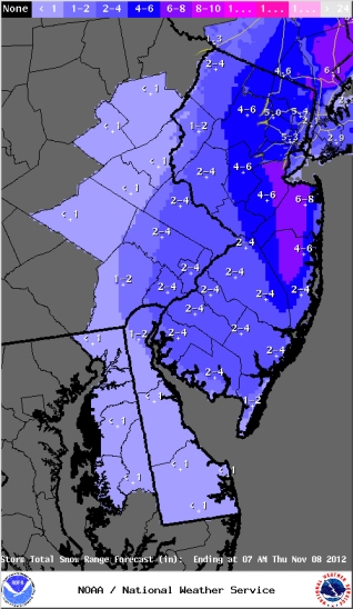 National Weather Service snow totals prediction, around 9PM EST