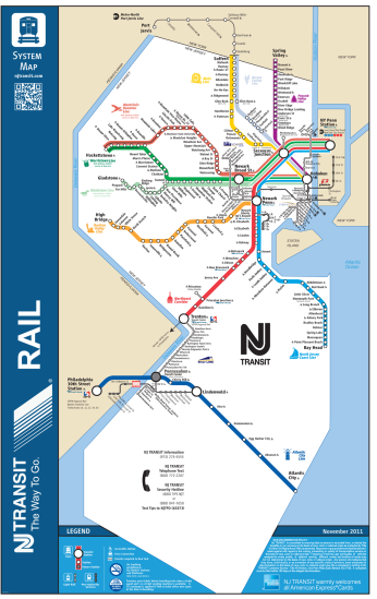 NJ Transit rail system map, normal, November 2011