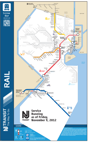 NJ Transit rail system, hurricane recovery map, November 9 2012