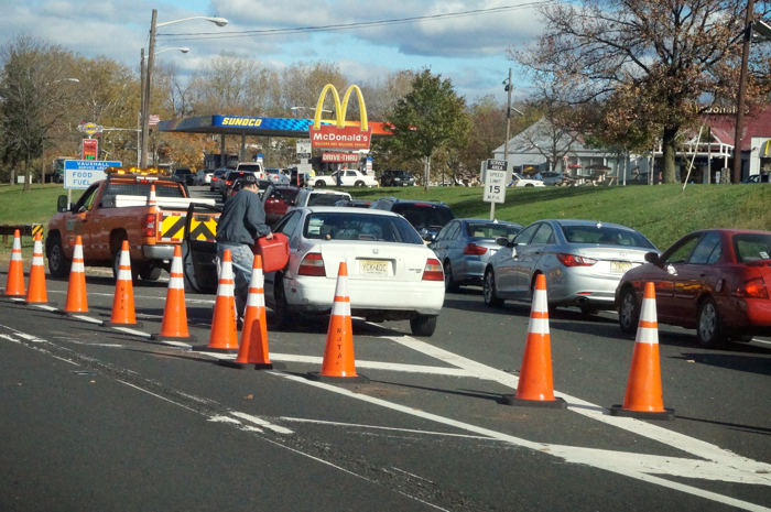 Gas lines on the Parkway, November 3, 2012