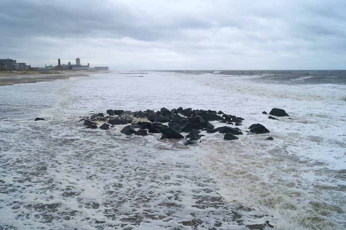 Ocean Grove jetty, one day before Hurricane Sandy