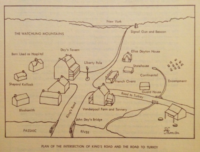 "Diagram of diorama from pamphlet. Incidentally: ""Road to Turkey"" = ""Road to New Providence"" = modern-day River Road."