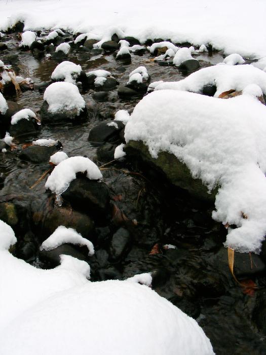 Snow on rocks, oh boy