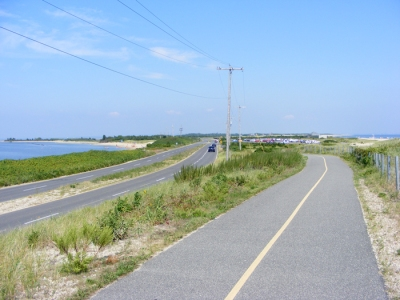 Sandy Hook bike path; me; August 2009