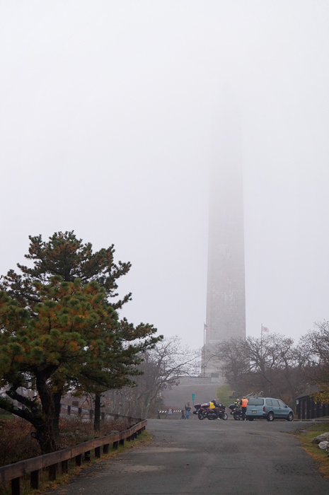 High Point Monument in the fog... with bikers.