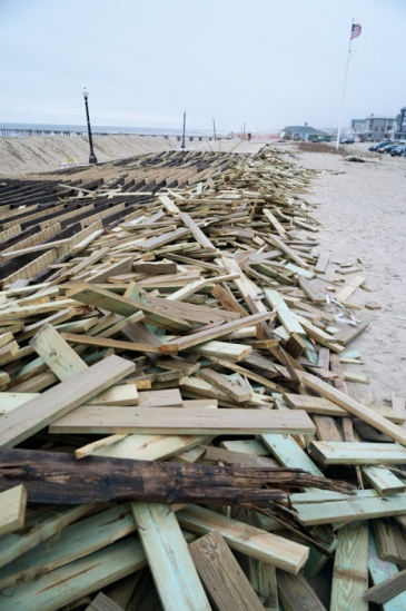 Ocean Grove boards from the boardwalk, piled next to the pilings
