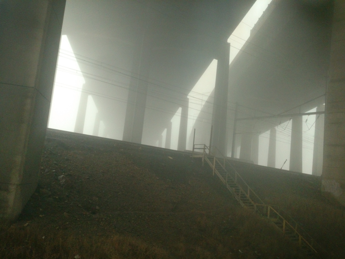 I-95 in the fog. Ooooo, creepy.