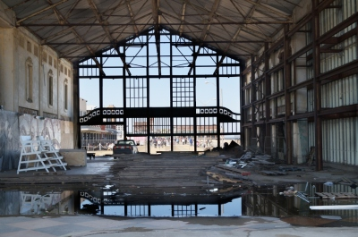 Peeking over the fence into the Asbury Park Casino, May 2013;  this will all be cleaned up in two weeks