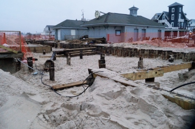 January 2013: Ocean Grove boardwalk, rebuilding near the beach offices
